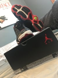 black and red Air Jordan 13's shoe with box Dayton, 47941
