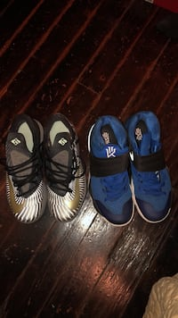 pair of blue-and-black Nike basketball shoes 218 mi