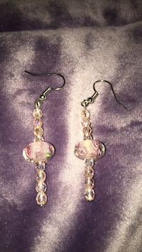 Big beads in roses with light pink crystal with silver earrings  Kissimmee, 34746