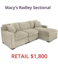 Macy's Radley Sectional Reversible Chaise Sofa Couch Lanham