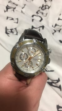 Gold and White Chronograph watch with brown leather