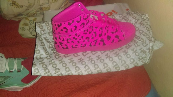 Used pink reebok by tyga   traww pink leopard print new for sale in ... bf10339d2
