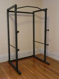 Power cage squat rack, bench press, and pull-up bar