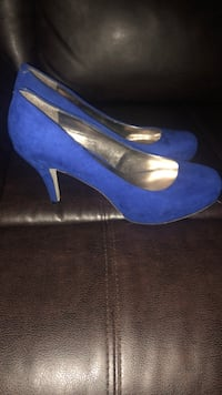 pair of blue suede platform stilettos Kansas City, 66104