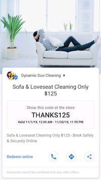 Sofa & LoveSeat Cleaning Only $125