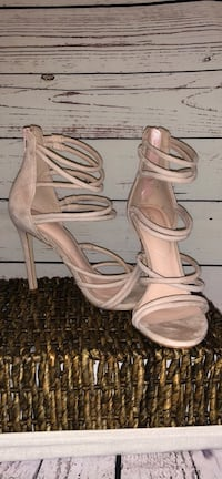 pair of white leather open-toe heeled sandals Indian Trail, 28079