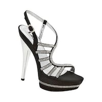 Unpaired black leather open-toe ankle strap stiletto Mission