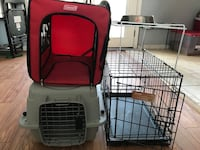black wire kennel and gray pet carrier