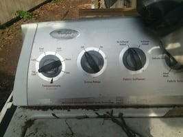 white and gray Whirlpool clothes washer