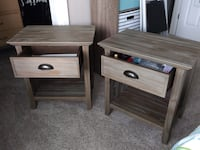 brown wooden single drawer side table PORTLAND