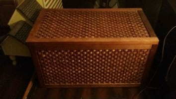 Woven wicker blanket chest