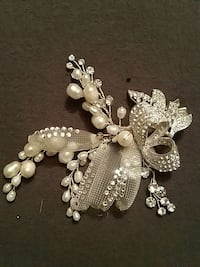 Crystal and pearl bridal accent hair piece 3157 km