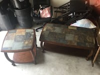 Two brown wooden framed glass top tables Houston, 77002