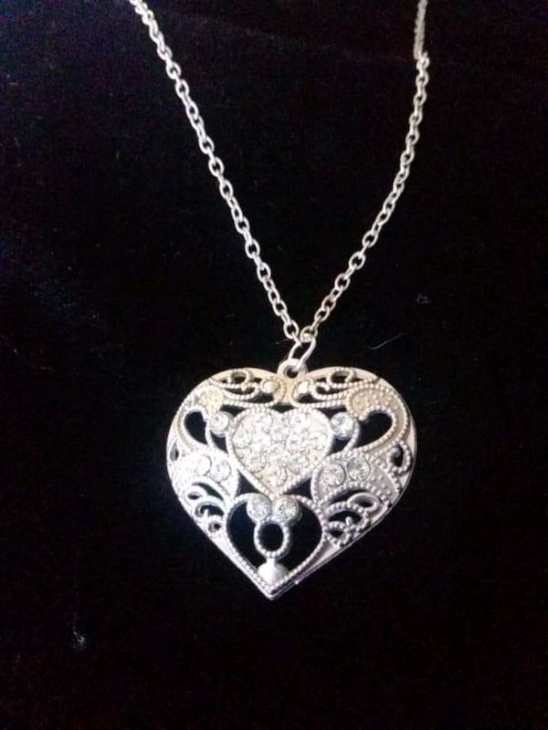 Silver heart necklace with rhinestones heart within a heart 66e57067-61c3-4aed-b7fb-6db6c723799d