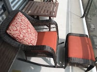 Brown wooden framed red padded armchair Montreal, H3G