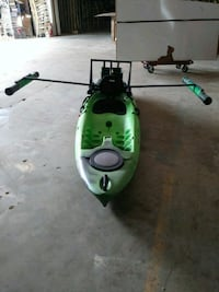 green and white kayak with paddle Stafford, 77477