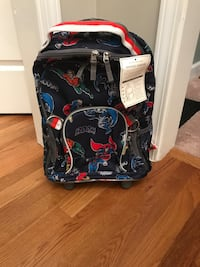 black and red Justice League backpack Suwanee, 30024