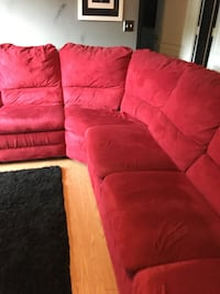 red suede sectional couch with throw pillows CLARKSVILLE