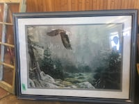 bald eagle at forest painting and black wooden frame Duncan, V9L 1Y2