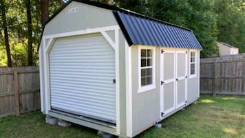 10x16 lofted shed with garage door