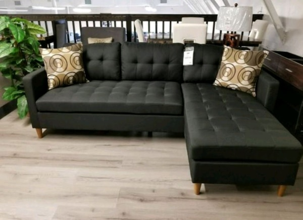 Brand New Black Linen Sectional Sofa Couch