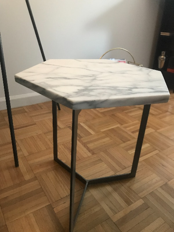 wholesale dealer 13bfa a6a23 West Elm Hex Side Table, White Marble/Raw Steel