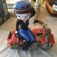 Betty Boop Biker on a harley like Motorcycle Cookie Jar  Clay Art 2000 East Islip, 11730