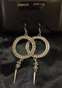 Silver dangle hoop earrings  67 km