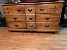 Nine drawer solid wooden dresser