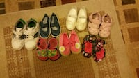 girl's seven pairs of assorted shoes