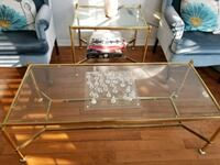Gold and glass coffee and side table.  Courtice, L1E 3E8
