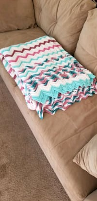New Blanket - teal, pink, white & green knit  Tucson, 85719