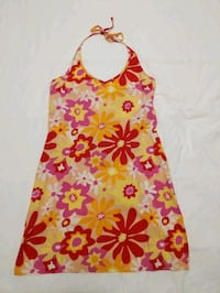 Floral halter dress size Small just small for me  bought for $40 Calgary, T2E 0B4