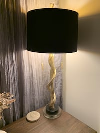 2 gold table lamps with black and gold shades Malden, 02148
