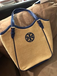 Tory Burch straw tote with Blue Nile cobalt leather trim. Toronto