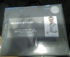 Gluckstein Grey 4 Piece Queen Sheet Set 500 Count Thread