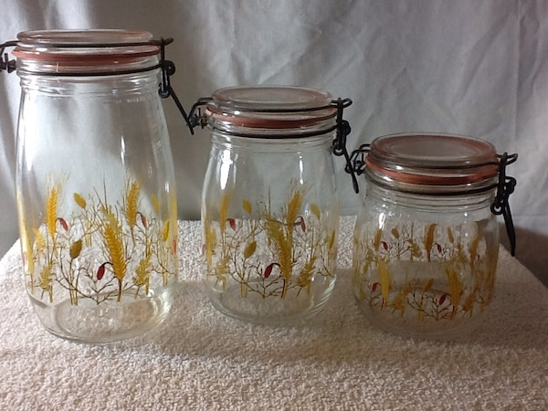 Vintage Set Of 3 Arc French Clear Glass Canisters With Wheat Design Rubber Seal With Metal Hinged Lids