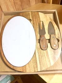 Ceramic & Wood Cheese Set