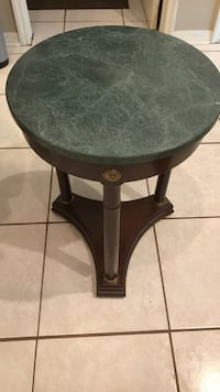 round black wooden side table
