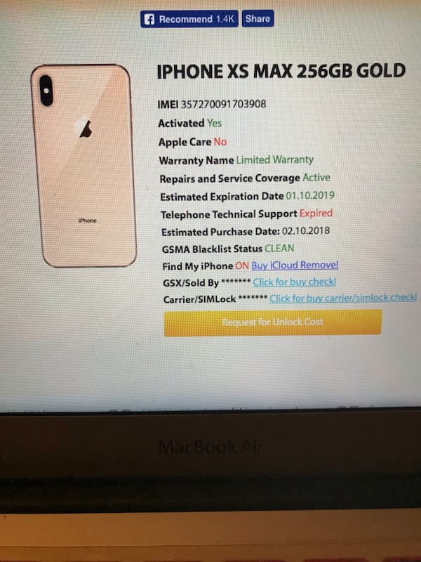 iPhone XS Max Gold 256g Brand New! T-Mobile OBO