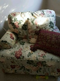 white, red, and green floral fabric sofa chair Red Deer, T4R 2E8