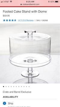 Crate and Barrel Glass Cake Stand  Itasca, 60143