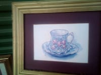 Floral tea cup and saucer. Matted. Framed Springfield, 65804