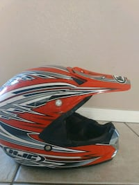 Orange, black, and white HJC  Motorcycle helmet Riverside, 92507