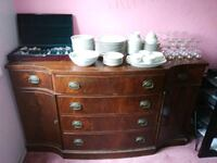 Antique 8 Drawer Server with Premier Fine China Washington