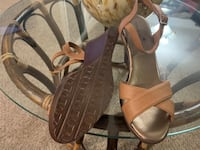 Pair of brown  open toe ankle strap heels Mississauga, L5B 1K5
