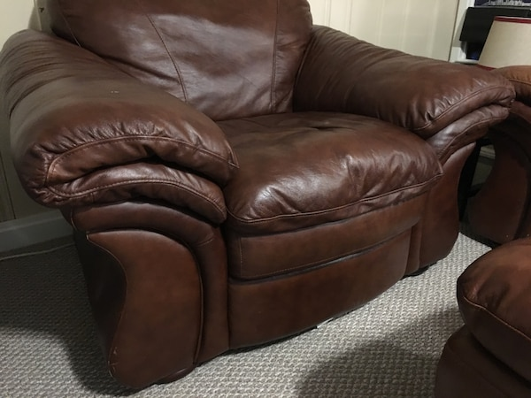 Outstanding Brown Leather Chair With Ottoman Dailytribune Chair Design For Home Dailytribuneorg