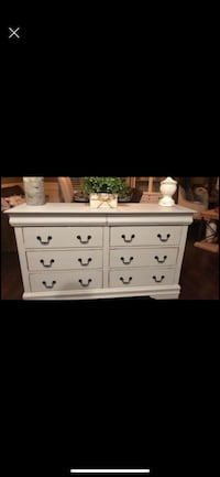 Distressed grey chest of drawers and 8 drawer Dresser