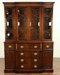 Antique mahogany breakfront china cabinet bookcase with bowed glass Riverdale Park, 20737