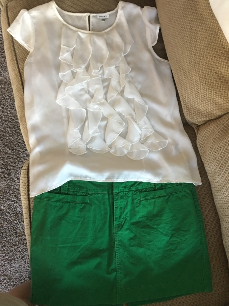 White blouse Green old navy skirt size large